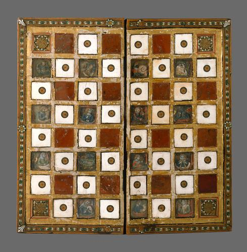 geruit bord 14e eeuw
