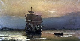 Mayflower_in_Plymouth_Harbor,_by_William_Halsall