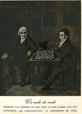Ephraim van Emden en zoon Izak in Koffiehuis de Paradijsvogel A'dam 1785 (2)